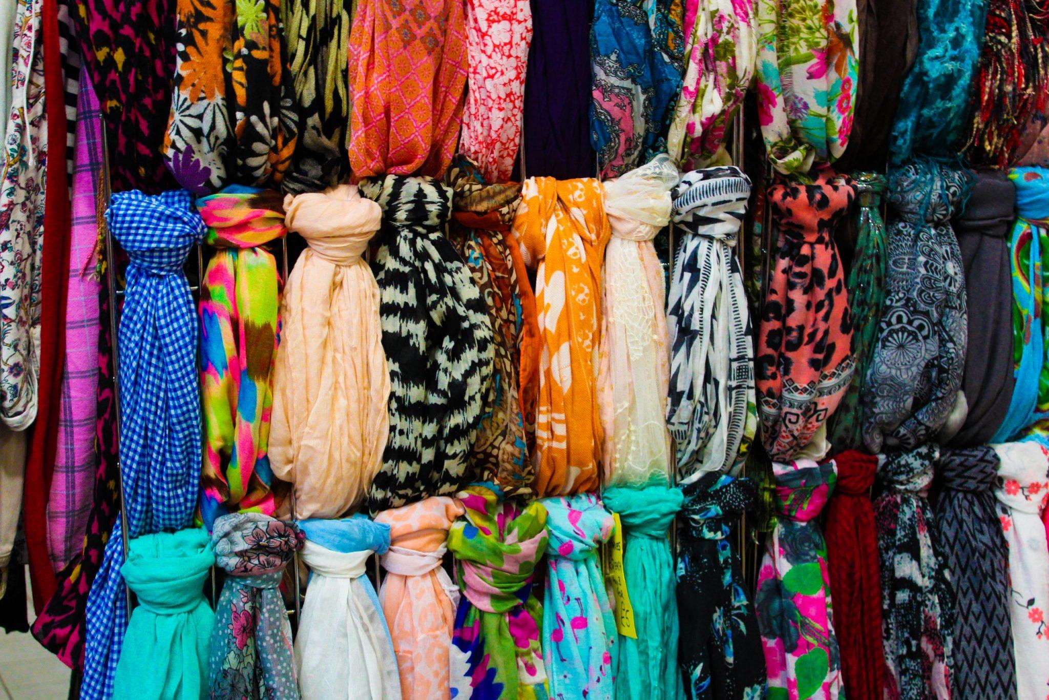 multi-colored scarves